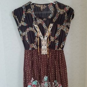 Free People Boho Top with Bird & Leaf Print